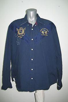 La Martina Men`s Big Shirt Boston Usa Size 3xl Xxxl Poloshirt Cotton Excellent