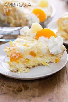 This pretty Ambrosia Pie has all of the goodness of Ambrosia Salad, tucked into a tasty graham cracker crust to be served for dessert!