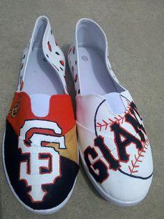 "Custom Handpainted Women Shoes SF Giants Slip on ""Like TOMS"" w/ leopard print Any Size on Etsy, $45.00"