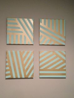 DIY painted canvas. Easy art project with painters tape.