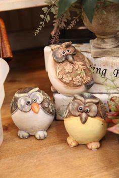 trio of chubby owls www.EvergreenMfg.net