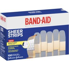 Band-Aid Sheer Strips Bandages, 100 count, Multicolor