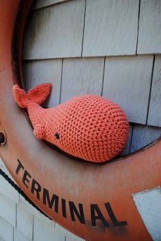 crocheted whale.