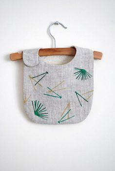 Pine Needle bib - green + gold / baby gift / READY TO SHIP on Etsy, $25.13 CAD