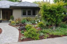 No-lawn front garden, evergreen, with stones and art for interest and add dwarf boxwood hedges for formality.