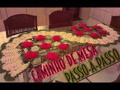 TUTORIAL - Caminho de mesa rosas vermelhas
