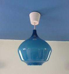 Vintage Danish Holmegaard Blue Glass Ceiling Pendant Light Lamp Retro in Home, Furniture & DIY, Lighting, Ceiling Lights & Chandeliers   eBay