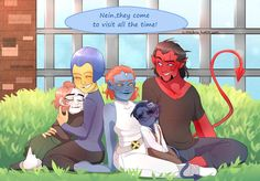 Little Kurt and Rogue with Destiny, Mystique and Kurt's dad, Azazel.