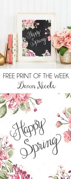 This Happy Spring Hand-Lettered Floral Print (in two design options!) is this week's Free Print of the Week!  | bydawnnicole.com