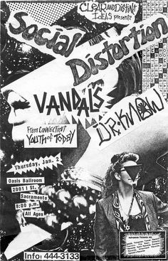 Cartazes Punk Rock e Hardcore dos anos 80 e 90 Social Distortion, Gig Poster, Rock Posters, Band Posters, Music Posters, Retro Posters, Punk Art, Album Design, Punk Rock