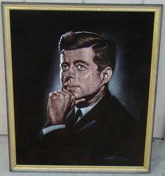 Original 1964 JFK John F. Kennedy VELVET Painting by VICTOR OF HAWAII Velvet Painting, John F Kennedy, Vintage Velvet, Jfk, Black Velvet, Hawaii, The Originals, Houses, Paintings