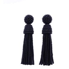 Valentine SALE Black color beaded tassel Earrings with clip ons or... ($43) ❤ liked on Polyvore featuring jewelry, earrings, accessories, beaded earrings, earring jewelry, sterling silver bead earrings, beading jewelry and sterling silver jewelry
