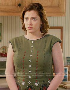 Rebecca's green embroidered dress on Crazy Ex-Girlfriend.  Outfit Details: https://wornontv.net/64101/ #CrazyEx-Girlfriend