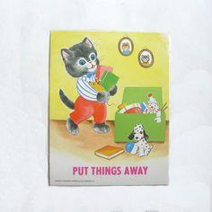 Vintage School Poster Print Good Manners Cat Put Things Away.