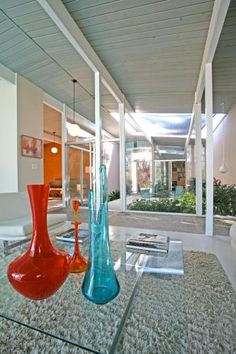 Eichler home - view of courtyard from Living Room that's probably the way they looked in the 40s and 50s.