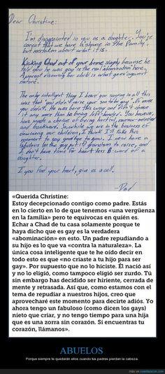 Una madre echa de casa a su hijo por ser gay y el abuelo le escribe una carta ejemplar - Porque siempre te quedarán ellos cuando tus padres pierdan la cabeza