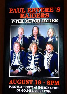 PAUL REVERE'S RAIDERS W/ MITCH RYDER 2016 TOUR @ GOLDEN NUGGET