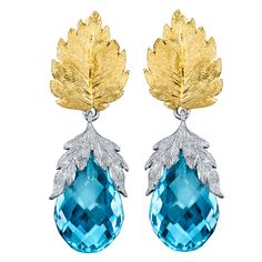 """Traditional """"Florentine"""" Style Blue Topaz Earrings. 