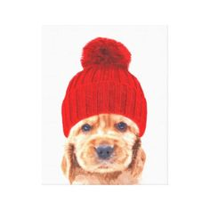 Cute cocker spaniel puppy with hat portrait canvas print - decor gifts diy home & living cyo giftidea