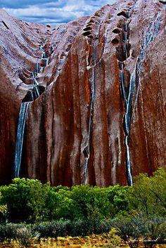 Rain flowing off Uluru - rare event in the Northern Territory, Australia Outback Australia, Australia Travel, Melbourne Australia, Queensland Australia, Western Australia, Places To Travel, Places To See, Places Around The World, Around The Worlds