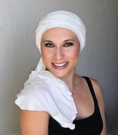 Creme Turban, Ivory Turban, Head Wrap, Chemo Hat, Alopecia Scarf, Hijab, One Piece Wrap - pinned by pin4etsy.com