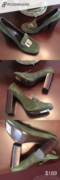 AUTH TORY BURCH GREEN SUEDE PUMPS Good used condition, very comfy Tory Burch Shoes Heels