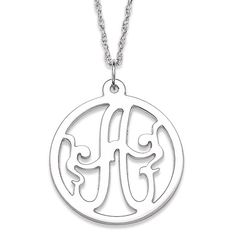 Sterling Initial Monogram Circle Necklace