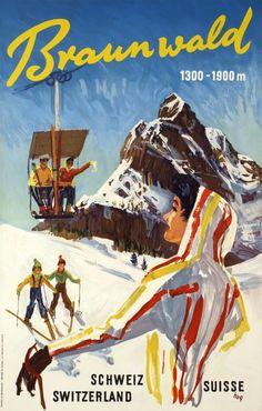 vintage ski poster Braunwald 1950