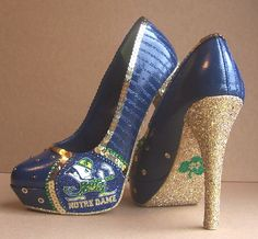I could never wear these but I would so love to own them!!   Notre Dame High Heels. $180.00, via Etsy.