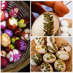 Easter egg die technique from WABI SABI Scandinavia - Design, Art and DIY . small leaves as resist . Easter Crafts, Holiday Crafts, Holiday Fun, Wabi Sabi, Scandinavia Design, Deco Nature, Easter Egg Dye, Diy Ostern, Ideas Geniales