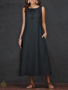 Buy Black Front Tie up Cotton Dress by Jaypore SALE! A Flair for Kalamkari printed kurtas dresses an Stylish Dresses, Simple Dresses, Casual Dresses, Fashion Dresses, Stylish Outfits, Next Dresses, Dresses For Work, Summer Dresses, Linen Dresses