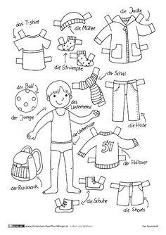 Kinder lernen im Vorschulalter - Primary school ideas - Bildung Paper Doll Template, Paper Dolls Printable, Kindergarten Portfolio, German Language Learning, Pinterest Crafts, Operation Christmas Child, Dress Up Dolls, Doll Quilt, Paper Toys