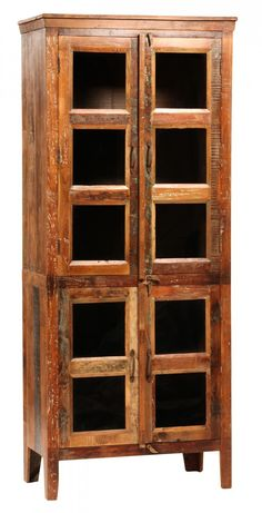 Upstairs Downstairs Furniture - Nantucket Glass Cabinet,  Width: 36.00 Height: 84.00 Depth: 19.00