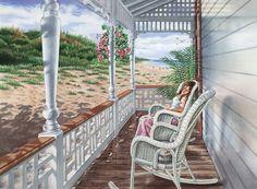 Beach Porch Daydreams - watercolor