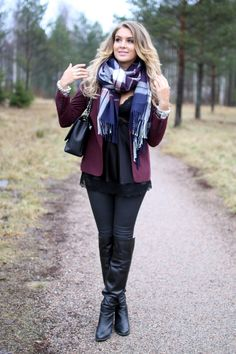 Burgundy blazer, navy / cream / burgundy plaid scarf, black lace top, jeans, bag and leather booties