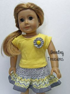 American Girl Doll Clothes - chevron ruffle skirt - 18 inch doll clothes