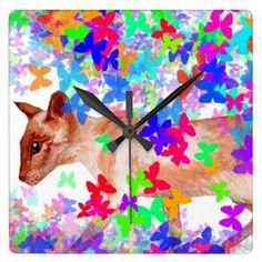butterfly cat wall clocks