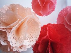 Take this general idea, but use paper doilies gathered & pinned on a styrofoam ball [Idea from Melanie Bogner]