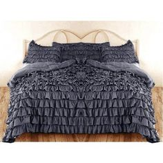 600 TC 3 PC Queen / Full Size Waterfall Ruffle Duvet Set in Solid Grey by Jay's Home Goods Cleopatra