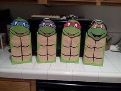 Ninja Turtle party favor bags by Mommyhomemadeframes on Etsy, $3.00