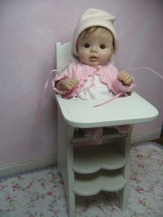OOAK clay baby miniature doll furniture HIGHCHAIR | eBay