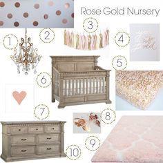 Rose Gold Nursery Inspo Board - Munire Venetian Collection in Driftwood