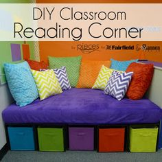 Pieces by Polly: DIY Classroom Reading Corner with Cuddle®️️ Fabric and Fairfield Worl Kindergarten Reading Corner, Childrens Reading Corner, Preschool Reading Corner, Reading Corner Classroom, Reading Nook Kids, Reading Areas, Classroom Setup, Classroom Environment, Classroom Design