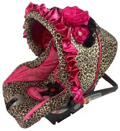 Leopard And Hot Pink Custom Infant Car Seat Cover With Matching Belt Covers Buckle A Floral Cluster No Longer Available