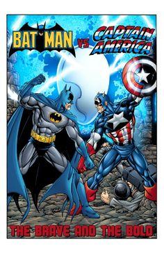 Batman VS Captain America (fc), in Mitch Ballard's MLBart 63 Comic Art Gallery Room Marvel Comics Superheroes, Marvel Dc Comics, Marvel Characters, Marvel Heroes, Comic Book Covers, Comic Book Heroes, Comic Books Art, Comic Art, Marvel Comic Universe