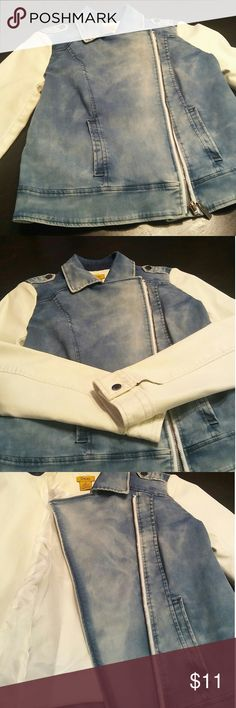 Denim jacket Denim jacket with white leather arms. Smoke free Home. Never worn. Fit true to size. Daisy Fuentes Jackets & Coats Jean Jackets