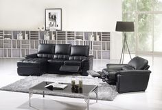 Black Leather Reclining Sectional Sofa Set Couch Chaise Chair Recliner