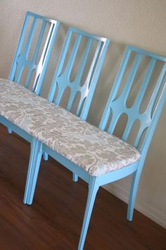 A Beautiful Bench Out of Old Chairs! I love the blue on this bench.