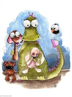 Original watercolor painting folk art whimsical Mouse dragon teddy bear crow #Folkartillustration