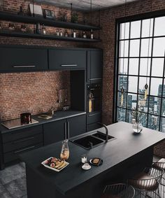 37 Top Kitchen Trends Design Ideas and Images for 2019 Part kitchen ideas; kitchen decorating ideas home renovation 37 Top Kitchen Trends Design Ideas and Images for 2019 Part 9 Industrial Kitchen Design, Industrial House, Industrial Interiors, Interior Design Kitchen, Industrial Kitchens, Modern Interior, Brick Interior, Black Interior Design, Home Interiors